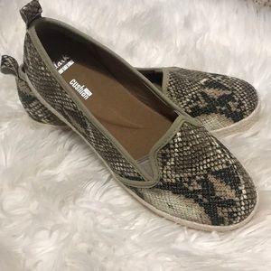 Snakeskin Clark's slip on shoes